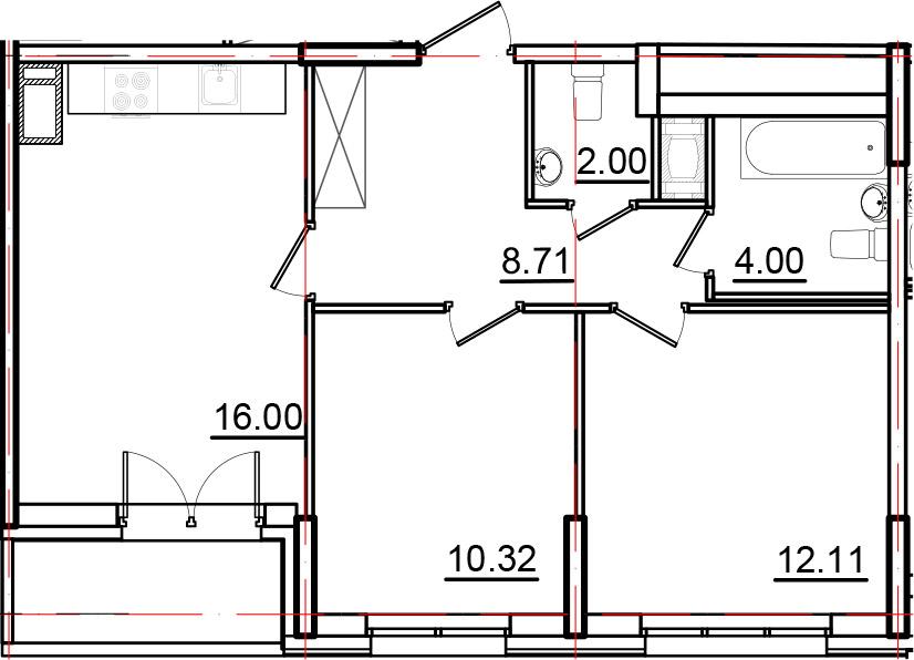 3Е-к.кв, 54.96 м², от 3 этажа