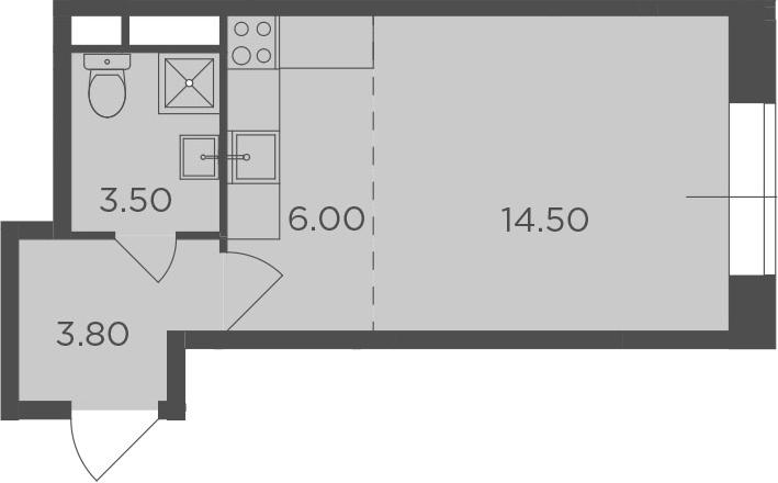 Студия, 27.8 м²– 2