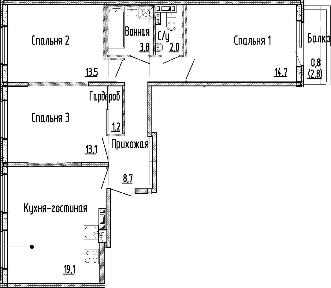 4Е-к.кв, 76.1 м², 3 этаж