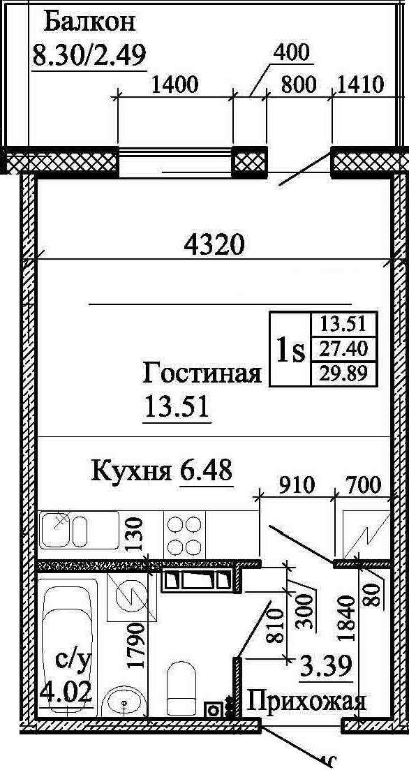 Студия, 29.89 м²– 2