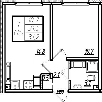 2Е-комнатная, 31.2 м²– 2