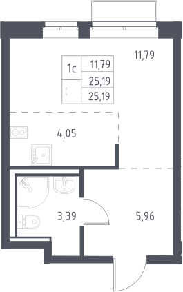 Студия, 25.19 м²– 2
