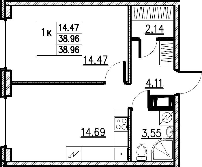 2Е-комнатная, 38.96 м²– 2