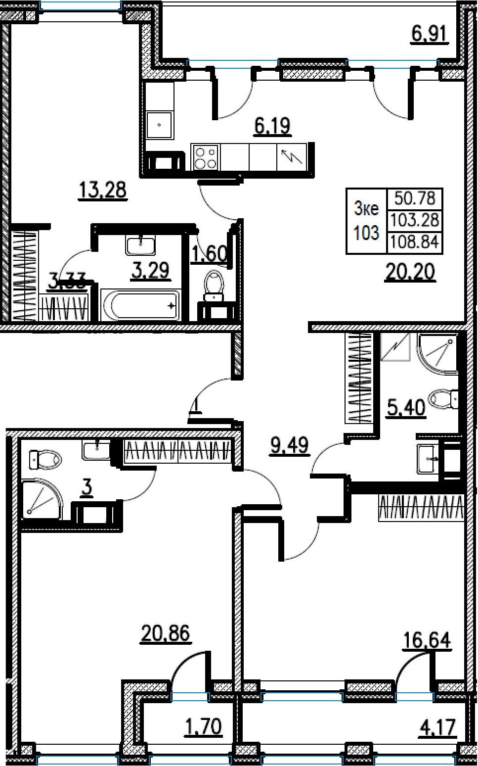 4Е-комнатная, 108.84 м²– 2