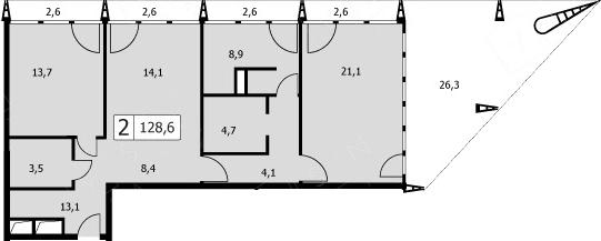 3Е-комнатная, 128.3 м²– 2