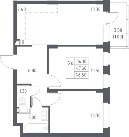 3Е-к.кв, 48.6 м², 11 этаж