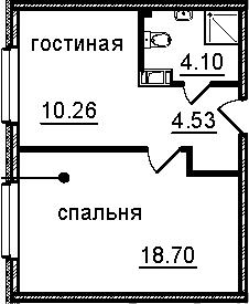 1-к.кв, 37.59 м², от 6 этажа