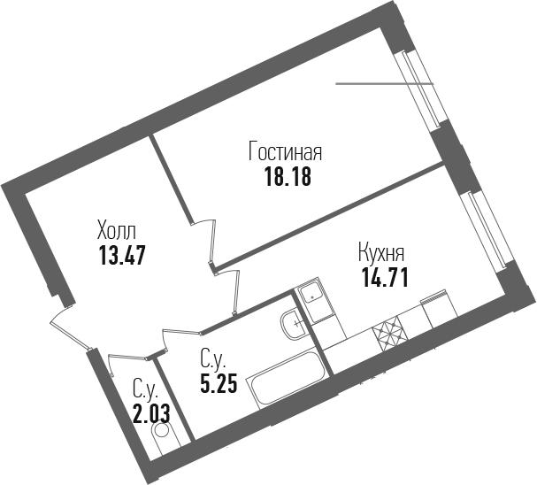 1-к.кв, 53.64 м²