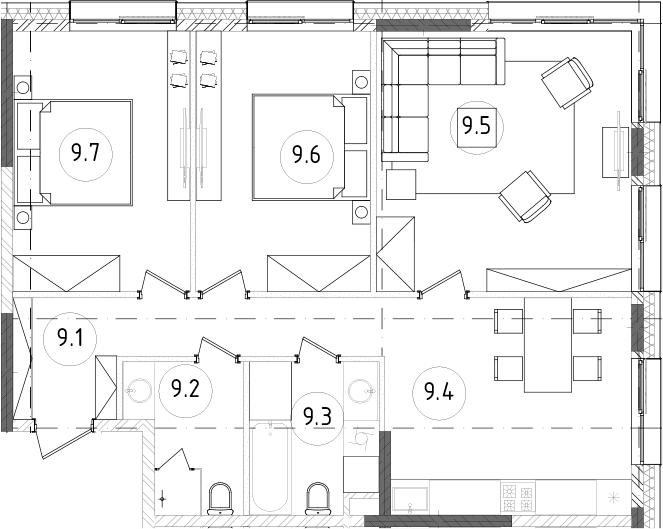 4Е-к.кв, 78.66 м², 12 этаж