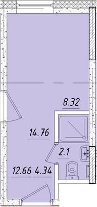 Студия, 14.9 м²