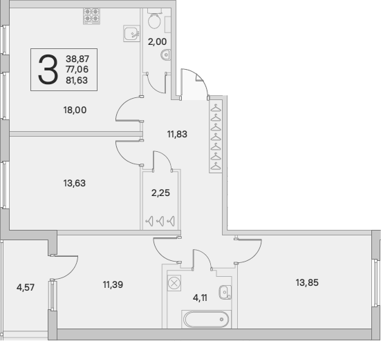 4Е-к.кв, 79.35 м²