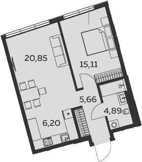 2Е-комнатная, 52.7 м²– 2