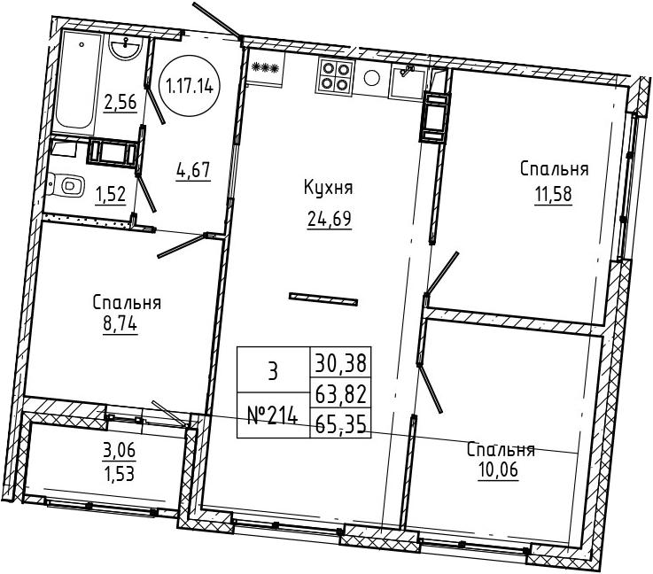 4Е-к.кв, 65.35 м², 17 этаж