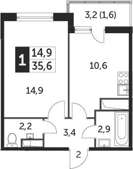 1-к.кв, 35.1 м², от 10 этажа