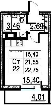 Студия, 21.55 м²– 2