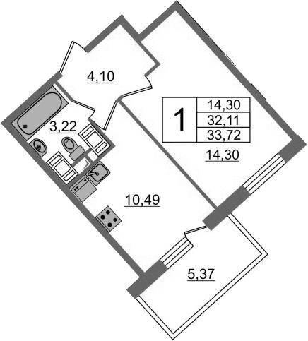 1-к.кв, 33.72 м²