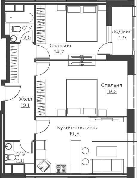 3Е-к.кв, 71.5 м²