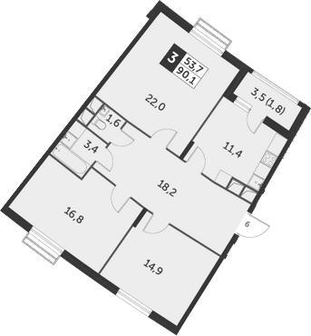 3-к.кв, 90.1 м², 4 этаж