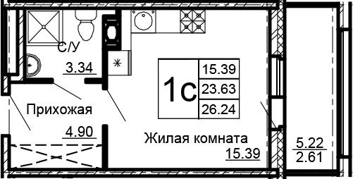 Студия, 28.85 м²