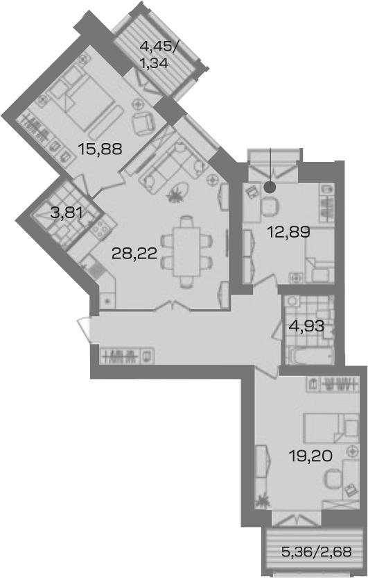 3-к.кв, 103.63 м²