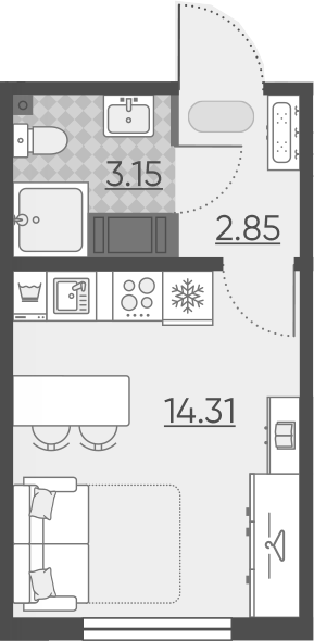 Студия, 20.31 м²– 2