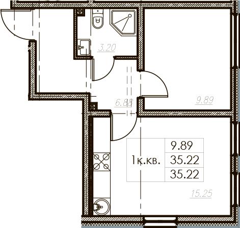 2Е-к.кв, 35.22 м², 2 этаж