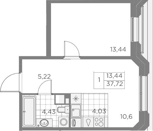 2Е-к.кв, 37.72 м², 5 этаж