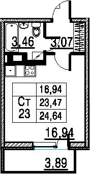 Студия, 23.47 м²