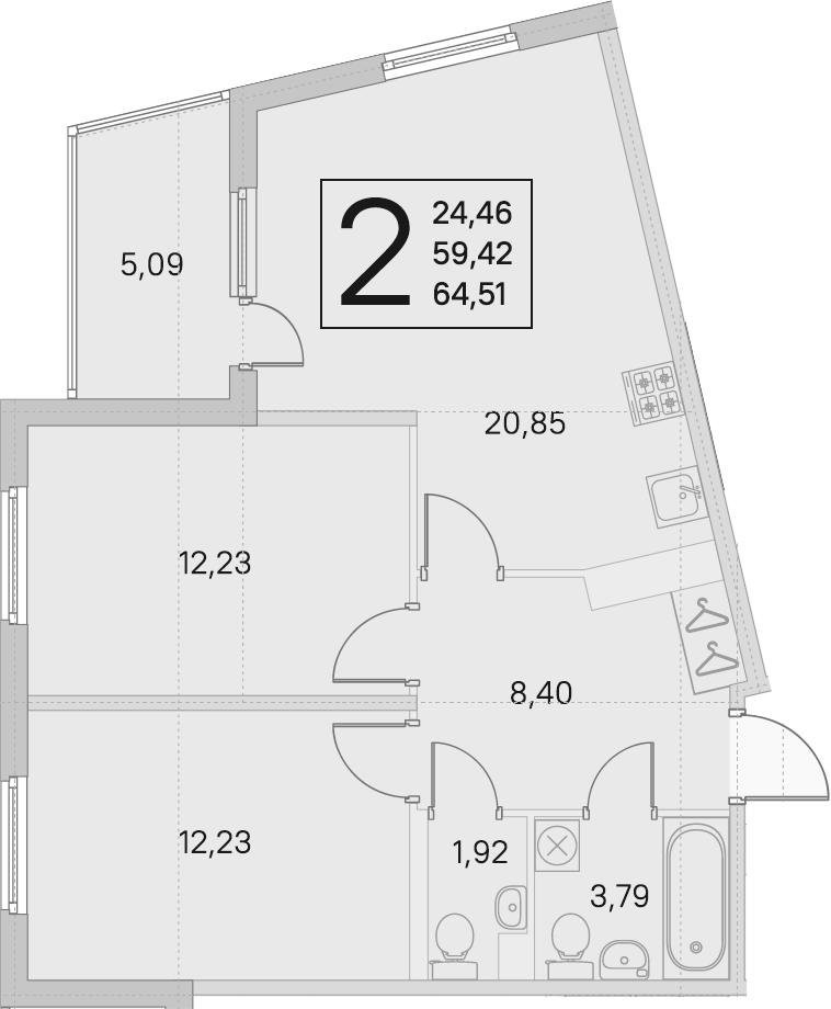 3Е-комнатная, 59.42 м²– 2