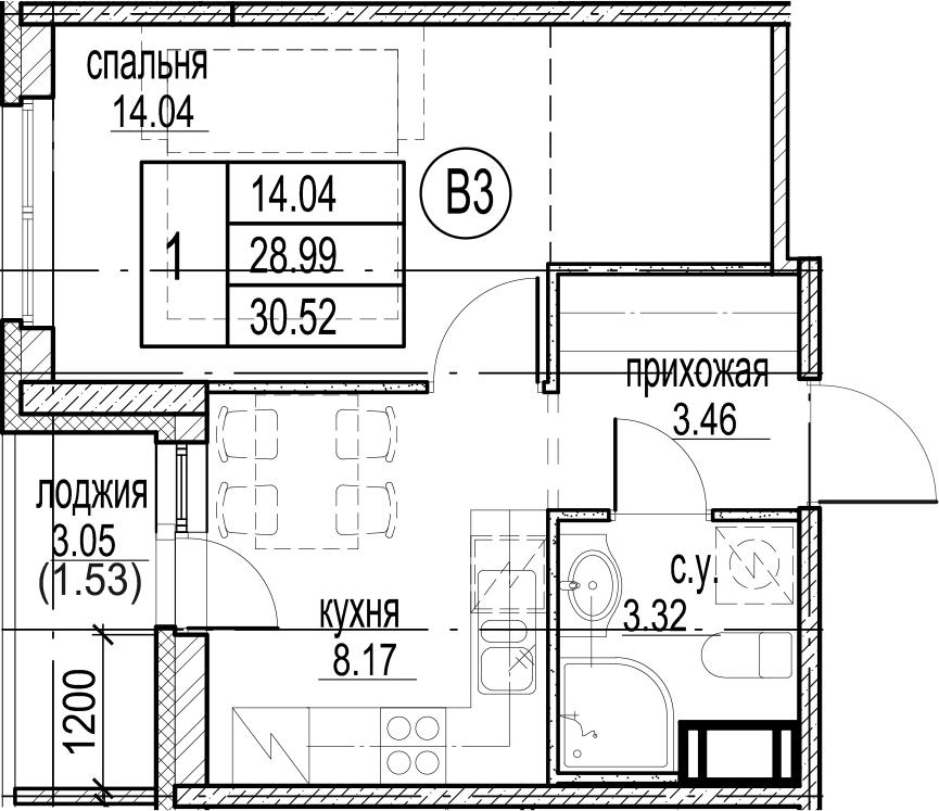 1-комнатная, 30.52 м²– 2