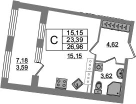 Студия, 23.39 м², от 15 этажа