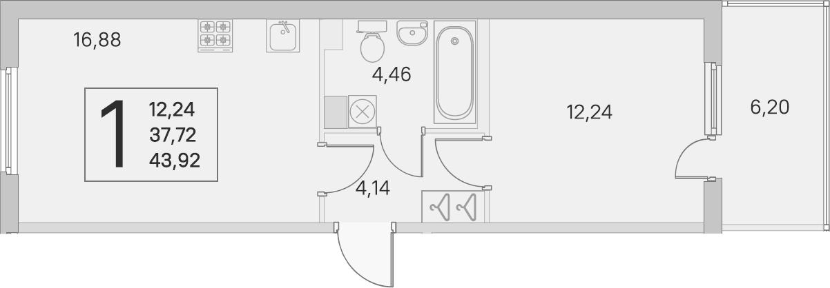 2Е-комнатная, 37.72 м²– 2
