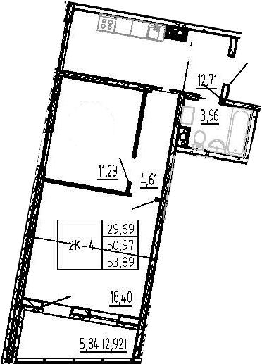 2-к.кв, 56.81 м²