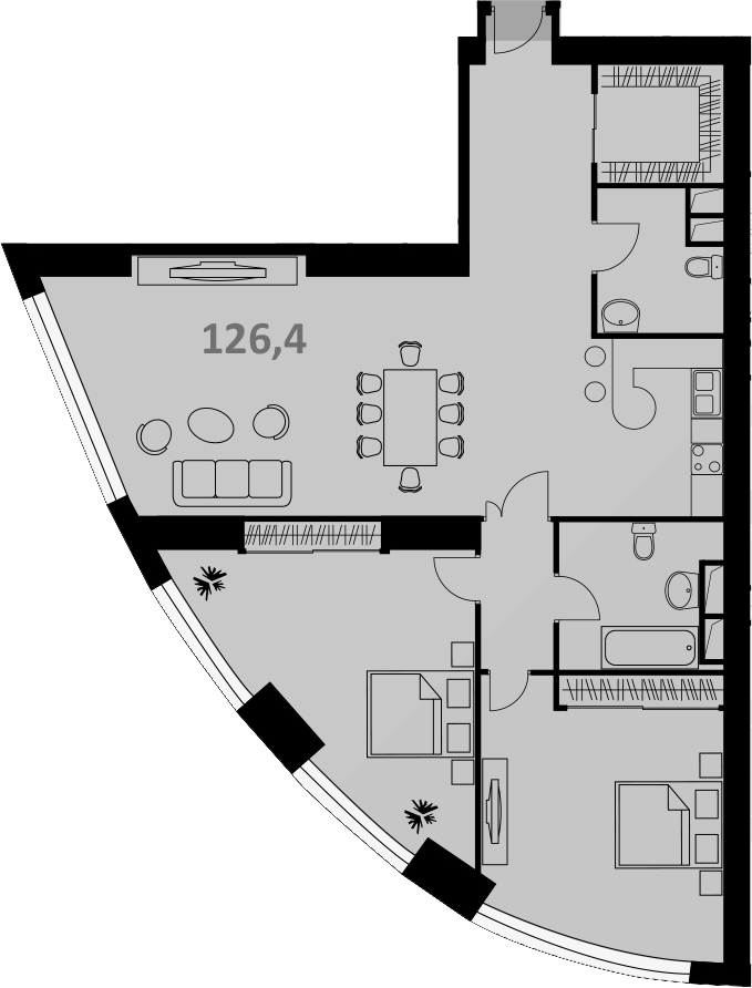 Своб. план., 128 м², от 5 этажа