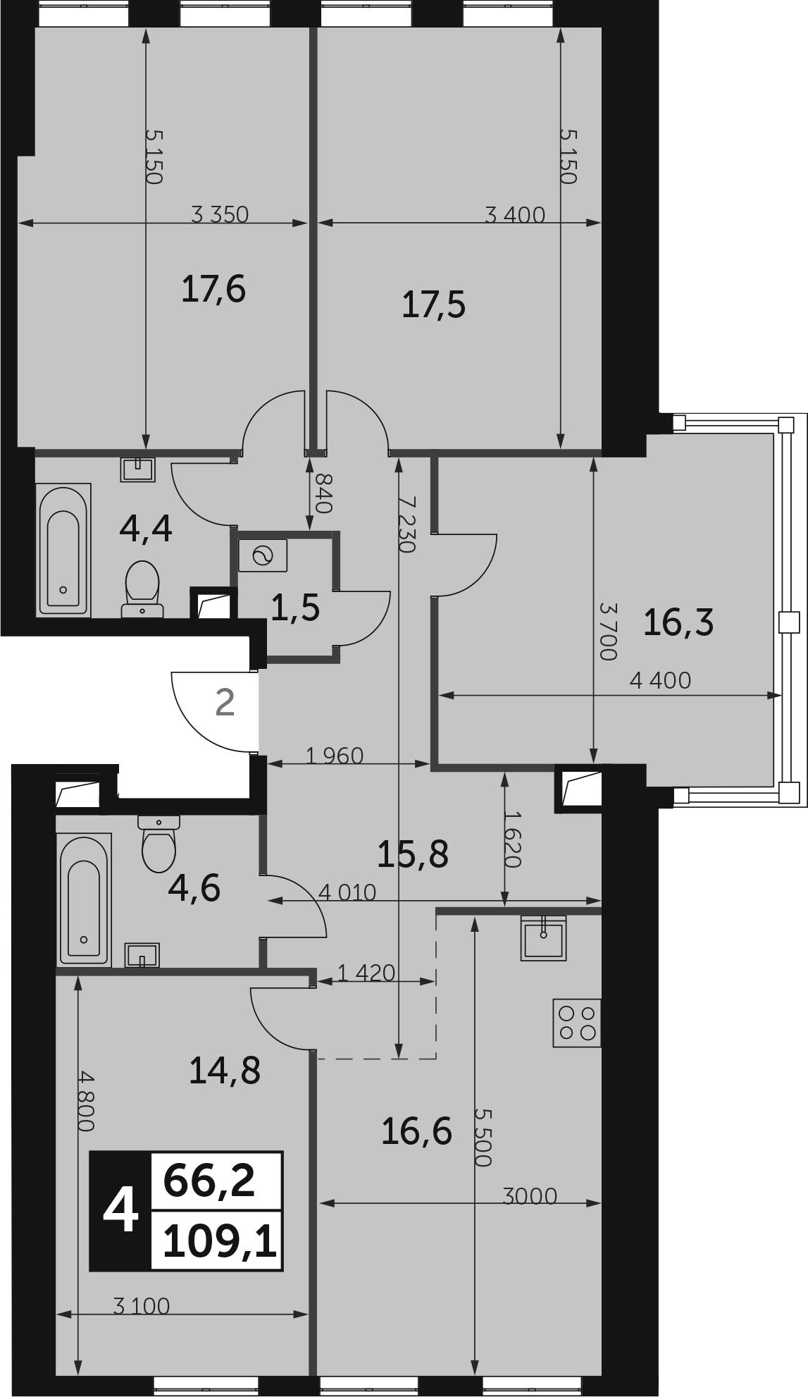 4-к.кв, 109.1 м², от 39 этажа