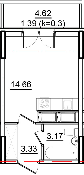 Студия, 25.79 м²