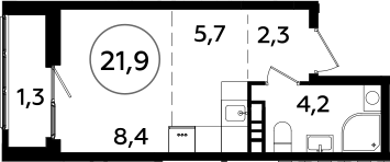 Студия, 21.9 м²– 2