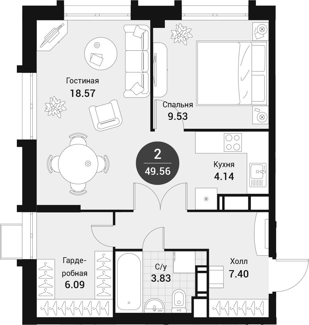 2-к.кв (евро), 49.56 м²