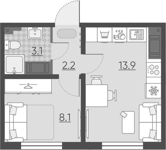 1-к.кв, 27.3 м², 7 этаж
