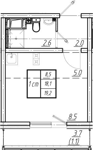 Студия, 19.2 м², 6 этаж