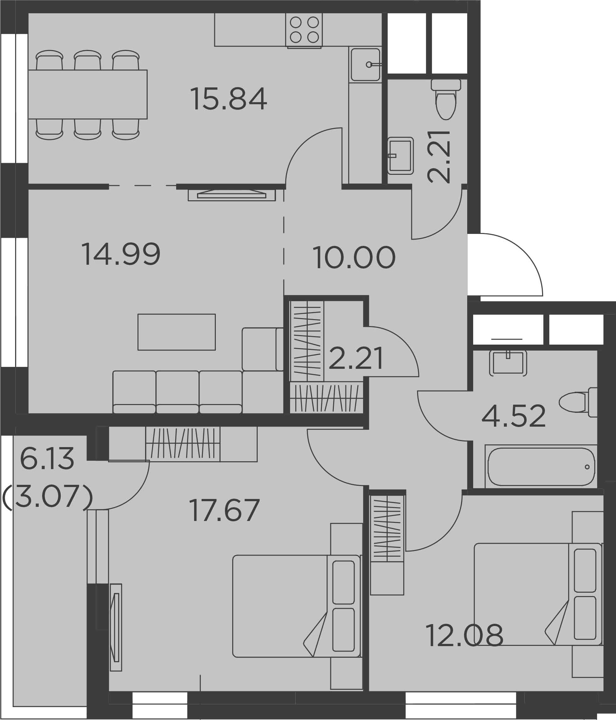 3-комнатная, 82.59 м²– 2