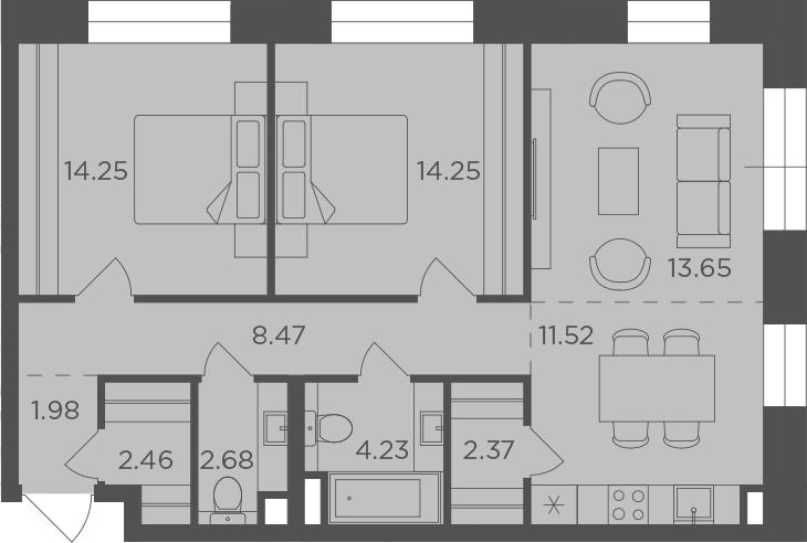 3Е-к.кв, 75.86 м², 6 этаж