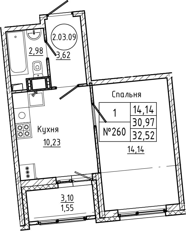 1-комнатная, 32.52 м²– 2