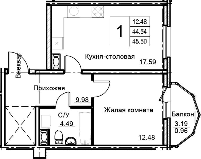 2-к.кв (евро), 47.74 м²