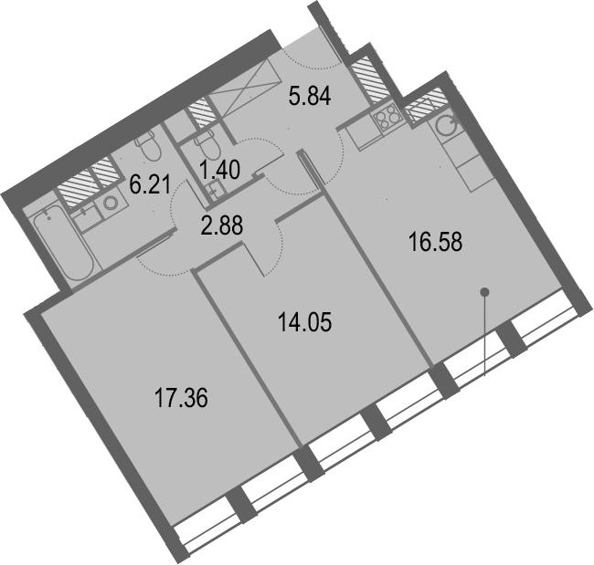 3Е-комнатная, 62.91 м²– 2