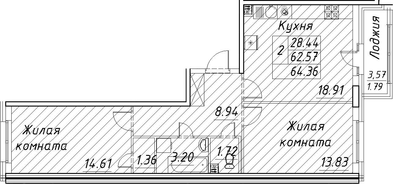 3-к.кв (евро), 66.15 м²