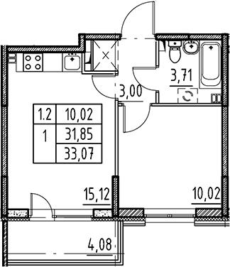 2Е-комнатная, 31.85 м²– 2