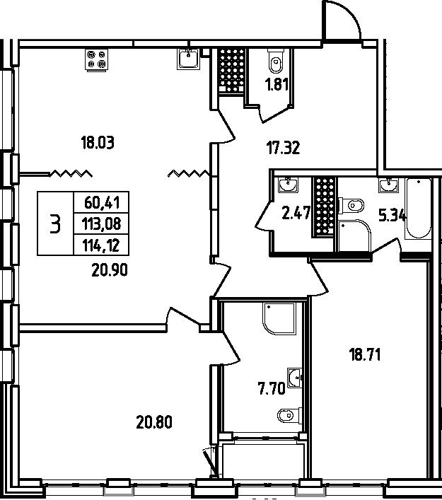 4Е-к.кв, 114.12 м², 16 этаж