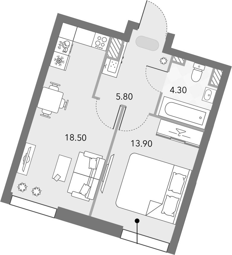 2Е-комнатная квартира, 42.5 м², 14 этаж – Планировка