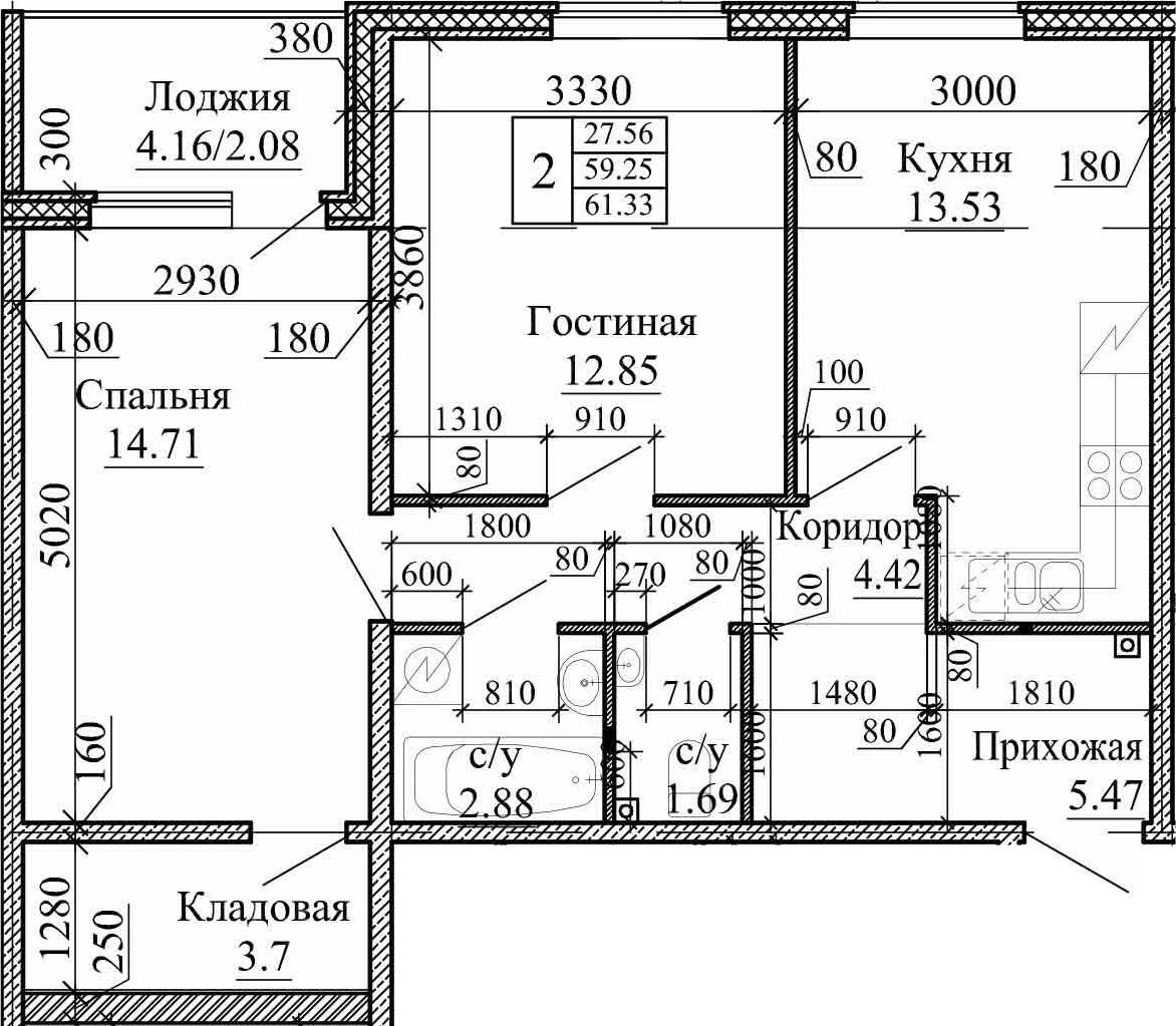 2-к.кв, 61.33 м²